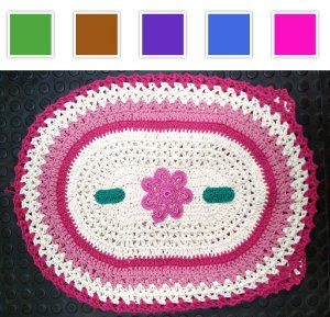 Jogo para Banheiro de Crochê Bicolor com Bordado - 03 peças