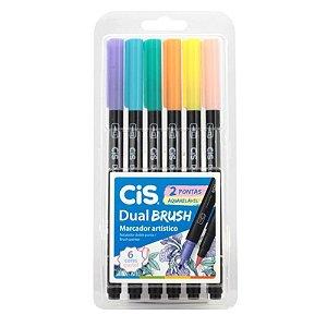 Caneta Dual Brush Cis 6 Cores Tons Pasteis