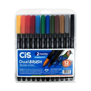 KIT MARCADOR CIS DUAL BRUSH C/12 CORES