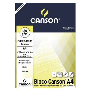 PAPEL CANSON BRANCO 180 G/M