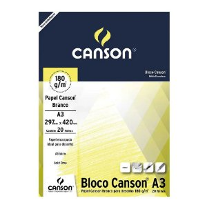 PAPEL CANSON BRANCO A3 180 G/M