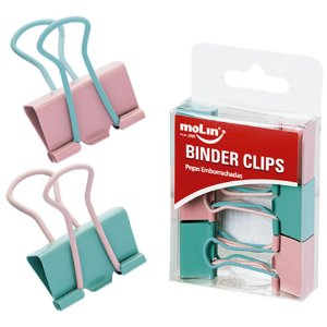 Prendedor Binder Clips Soft Touch C/6 25mm Molin
