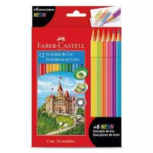 Lápis de Cor Neon Faber Castell 12 cores + 6 Cores Neon