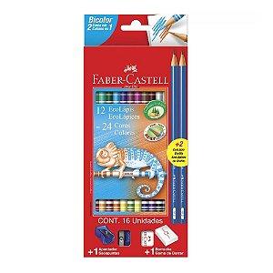 Lápis de Cor Bicolor Faber Castell Kit Borracha Apontador Lápis Preto