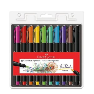 MARCADORES SUPERSOFT 10 CORES FABER CASTELL - PONTA PINCEL