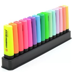 MARCA TEXTO STABILO BOSS 9 CORES FLUO + 6 CORES PASTEL