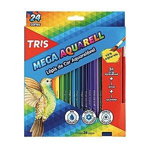 Lapís de Cor Aquarelável 24 Cores Tris - Mega Aquarell