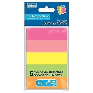 Marcador de Página Adesivo Neon 5 Cores Tili Notes Tilibra
