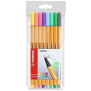 Caneta Point 88 Pastel Stabilo Kit com 8 cores