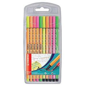 Kit Caneta 5 Point 88 + 5 Pen 68 Stabilo Neon