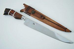 Faca SG 10 polegadas forjada cabo em madeira e osso bainha em couro