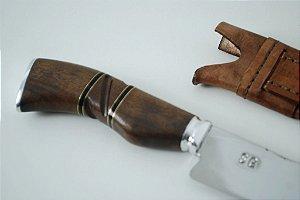 Faca SG 8 polegadas  cabo em madeira e chifre  bainha em couro
