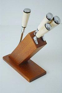 Cepo em Madeira garfo chaira faca de 8 polegadas e outra de 6 polegadas