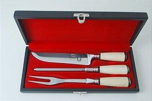 Conjunto faca chaira garfo cabo de osso em aço inox