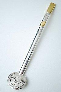 Bomba de chimarrão pequena em ouro e prata - 205