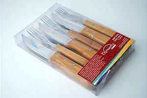 Conjunto 12 peças de talheres 6 garfos 6 facas com cabo em bambu
