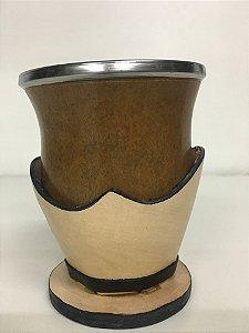 Cuia boca virada com suporte em couro - 207