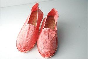 Alpargata rosa/vermelho estonado - solado de corda