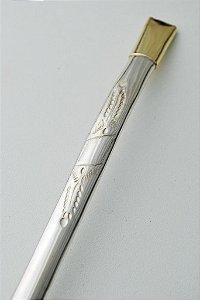 Bomba trabalhada de chimarrão em ouro e prata