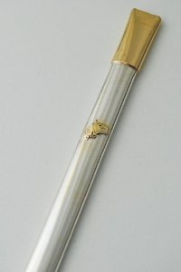 Bomba de chimarrão em ouro e prata
