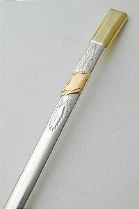 Bomba de chimarrão em ouro e prata com 1 chapa