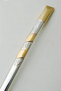 Bomba de chimarrão em ouro e prata 2 chapas