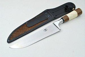 Faca 401/8 em aço inox com bainha em couro cabo madeira e osso