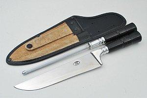 Conjunto faca e chaira 200/8 de aço 420 cabo chifre redondo