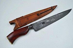 Faca SG em  aço Damasco com cabo em madeira Pau-brasil