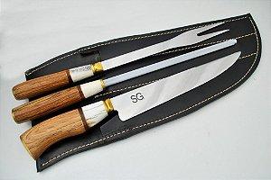 Conjunto SG faca garfo e chaira 8 polegadas
