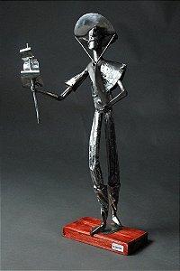 Escultura Gaúcho em solda e aço inox