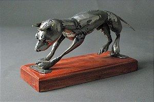 Escultura de cachorro em solda em aço inox
