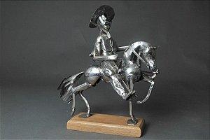 Escultura Gaúcho Ginete em aço inox e solda