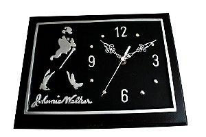 Relógio em madeira e alumínio fundido
