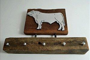 Porta chave em madeira de demolição alumínio fundido