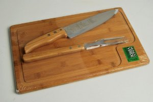 Conjunto para churrasco em bambu/inox