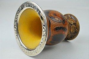 Cuia em Ouro e Prata com bocal Largo e uma chapa de ouro