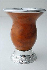 Cuia com pé cromado  bocal em aço inox