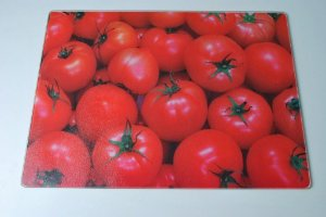 Tábua de vidro tomates