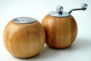 Conjunto moedor e saleiro em bambu