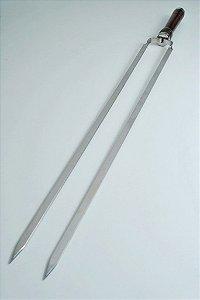 Espeto Duplo 55 cm  em aço inox com cabo em madeira