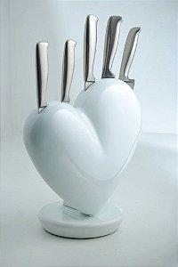 Cepo Do Coração com 5 facas forjadas em aço inox