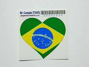 Adesivo   6,5cm x 6 cm Bandeira do Brasil Coração