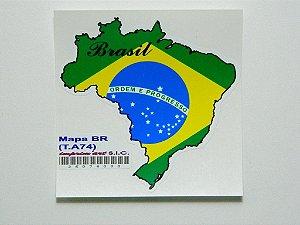 Adesivo 9,5cm x 9 cm Mapa do Brasil - 207