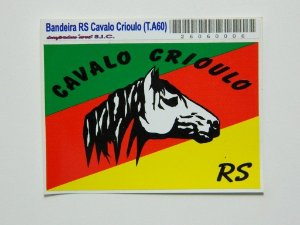 Adesivo 9cm x6 cm Mapa do Rio Grande com o cavalo crioulo