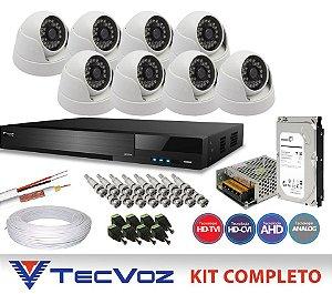 KIT FLEX HD TECVOZ 8 CANAIS COM 8 DOME CÂMERAS 4 EM 1 COMPLETO