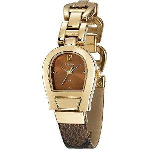 Relógio Feminino Mondaine Couro com Dourado
