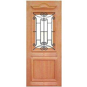 Porta de Madeira Maciça com Grade - REALEZA