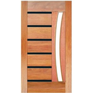 Porta de Madeira Maciça - BBB Friso Preto Vidro Arco