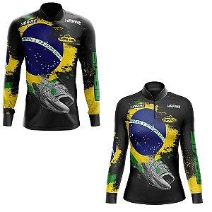 Kit Camisetas De Pesca 1 Camiseta Masculina E 1 Feminina Baby Look Camiseta Longa Brasil